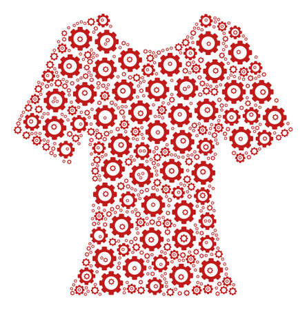 Lady T-Shirt mosaic of cog wheels. Vector cogwheel items are combined into lady t-shirt pattern.