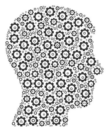 Man Head Profile composition of cogs. Vector gearwheel pictograms are grouped into man head profile mosaic.