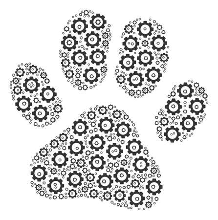 Paw Footprint mosaic of gearwheels. Vector cogwheel items are grouped into paw footprint composition. Illustration
