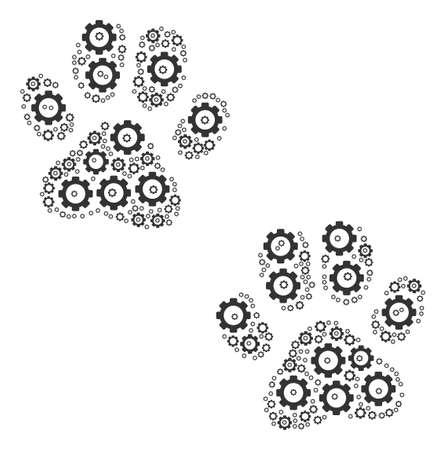 Paw Footprints mosaic of vector gears. Vector gear items are grouped into paw footprints figure.