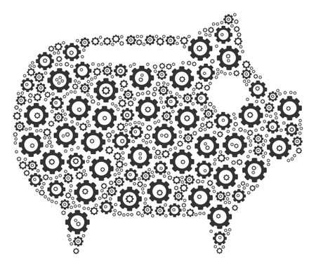 Piggy Bank collage of gear elements. Vector gear elements are composed into piggy bank pattern.