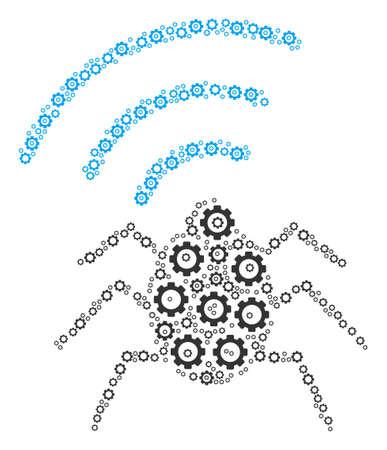 Radio Bug mosaic of gears. Vector gear wheel elements are organized into radio bug illustration. Illustration