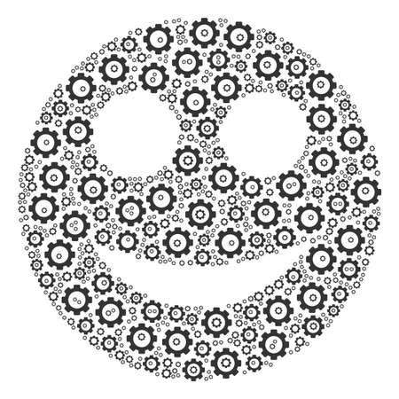 Smile composition of vector gears. Vector gearwheel components are organized into smile pattern. 矢量图像