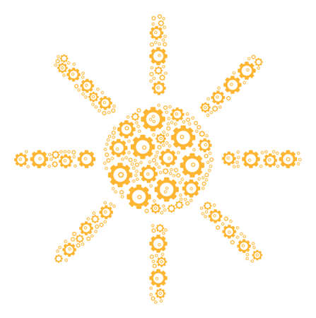Sun mosaic of tooth gears. Vector gear components are united into sun illustration.