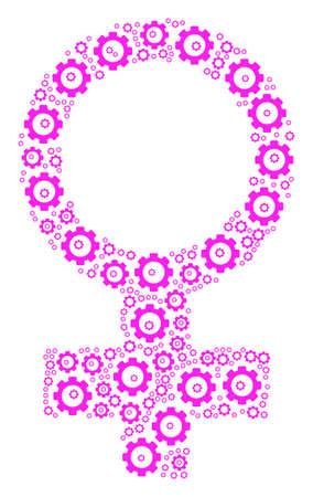Venus Symbol mosaic of mechanical wheels. Vector gear symbols are combined into venus symbol composition.