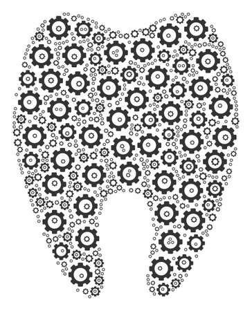 Tooth mosaic of gear icons. Vector gear elements are combined into tooth shape.