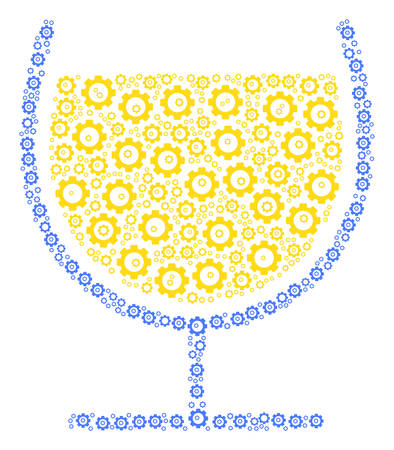 Wine Glass composition of gear icons. Vector cog wheel symbols are combined into wine glass mosaic.