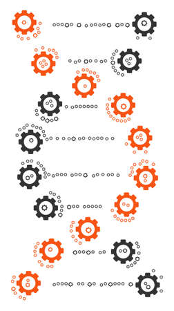 DNA composition of mechanical wheels. Vector cog wheel items are organized into dna pattern.
