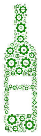 Wine Bottle mosaic of vector gears. Vector mechanical wheel symbols are combined into wine bottle composition.
