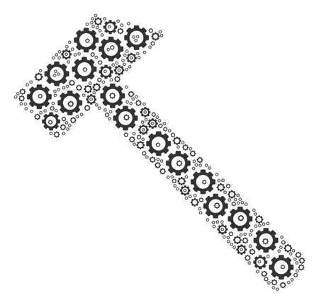 Hammer composition of tooth gears. Raster mechanical wheel items are composed into hammer pattern.