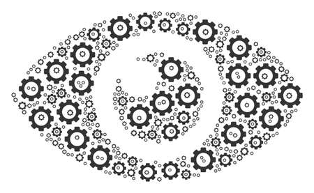 Eye composition of tooth gears. Raster cog components are grouped into eye mosaic. Stock Photo
