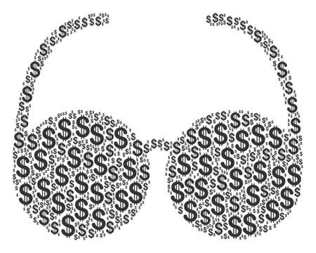 Spectacles composition of dollar symbols. Vector dollar currency icons are organized into spectacles collage.