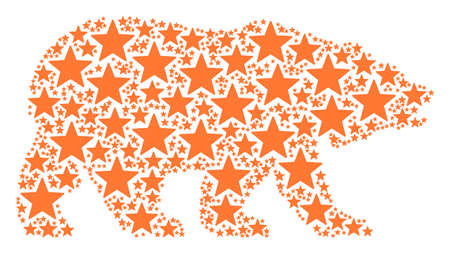 Bear mosaic organized of fireworks star design elements. Vector fireworks star pictograms are united into geometric bear collage. Illustration