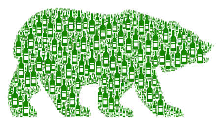 Bear mosaic composed of wine bottle pictograms. Vector wine bottle icons are united into geometric bear composition.