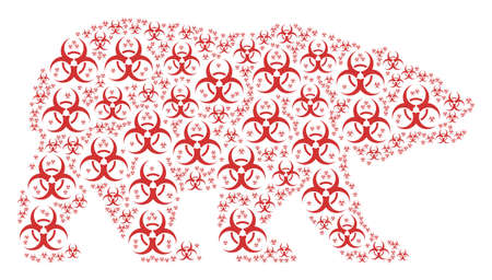 Bear concept made of biohazard pictograms. Raster biohazard design elements are composed into geometric bear collage. Stock Photo