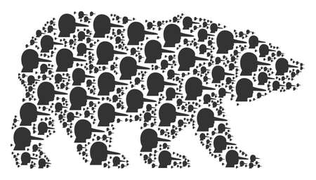 Bear composition designed of lier design elements. Raster lier design elements are combined into mosaic bear collage.