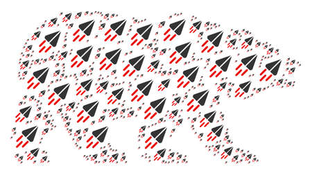 Bear collage designed of space ship pictograms. Raster space ship icons are composed into conceptual bear pattern.