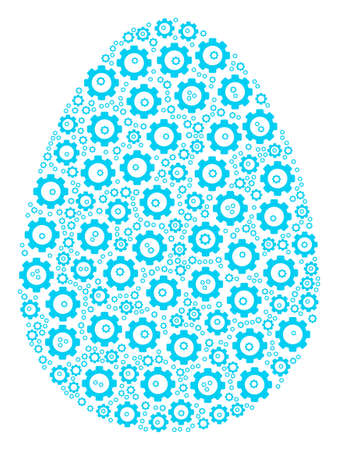 Egg composition of cog wheels. Vector mechanical wheel pictograms are organized into egg composition. 일러스트