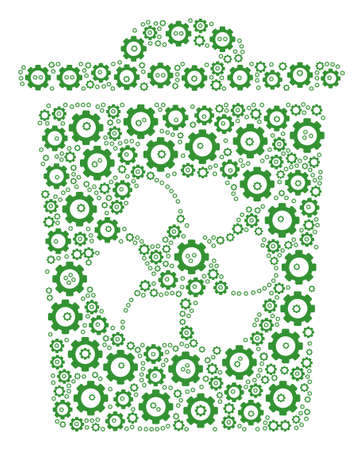 Recycle Bin composition of cog wheels. Vector gear components are combined into recycle bin figure. Vettoriali