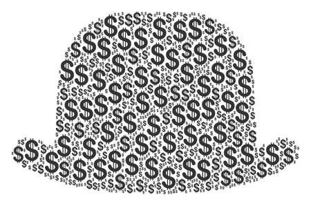 Gentleman hat collage of dollar symbols. Vector dollar icons are combined into gentleman hat composition.