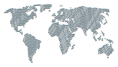 Geographic map collage organized of death skull tag pictograms. Vector death skull tag pictograms are composed into geometric international map. Illustration
