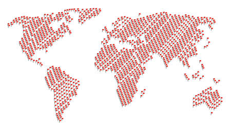 Global world map mosaic constructed of flag pictograms. Vector flag pictograms are united into geometric continent pattern.