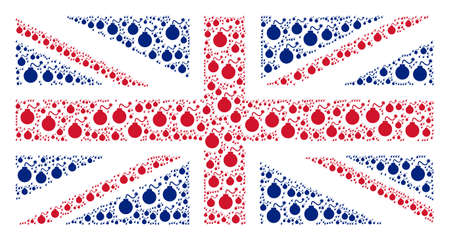 UK State Flag mosaic created of bomb design elements. Raster bomb pictograms are composed into conceptual UK flag composition. Stock Photo