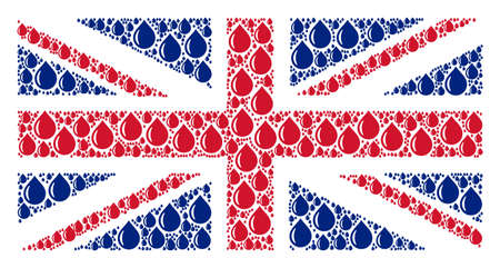 UK Flag pattern made of drop elements. Raster drop pictograms are combined into conceptual British flag composition.