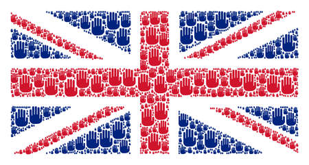 Great Britain State Flag concept made of stop hand pictograms. Raster stop hand elements are organized into geometric Great Britain flag collage.