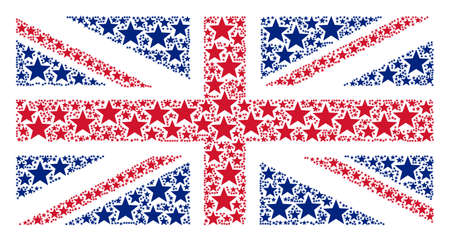 UK Flag collage organized of fireworks star pictograms. Vector fireworks star design elements are organized into conceptual United Kingdom flag composition.