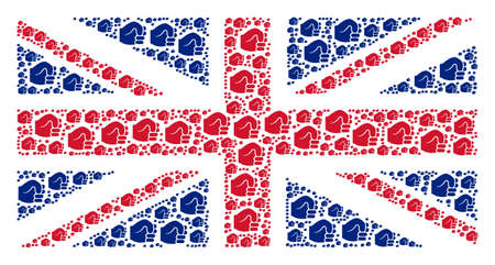 Great Britain Flag composition constructed of fist pictograms. Vector fist icons are organized into geometric United Kingdom flag pattern.