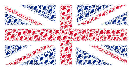 UK Flag mosaic constructed of oak leaf elements. Vector oak leaf elements are combined into mosaic British flag collage.