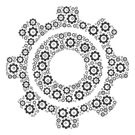 Cog collage of gear elements. Raster tooth gear components are united into cog composition. Stock Photo