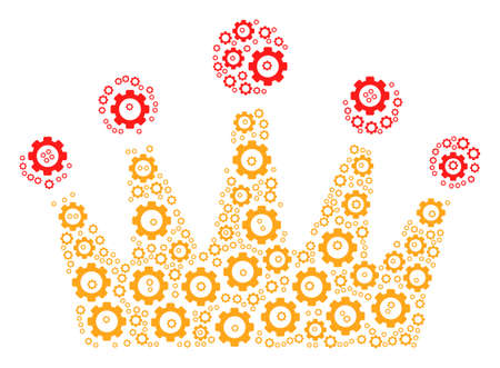 Crown collage of tooth gears. Raster gear pictograms are organized into crown composition. Stock Photo