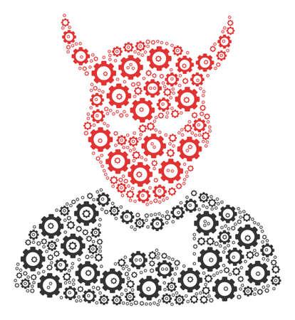 Devil mosaic of cogs. Raster gearwheel objects are grouped into devil shape.