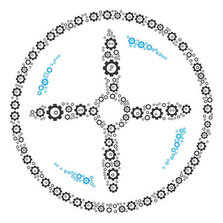 Drone Screw Rotation mosaic of cogwheels. Raster tooth gear icons are composed into drone screw rotation figure. Stock Photo