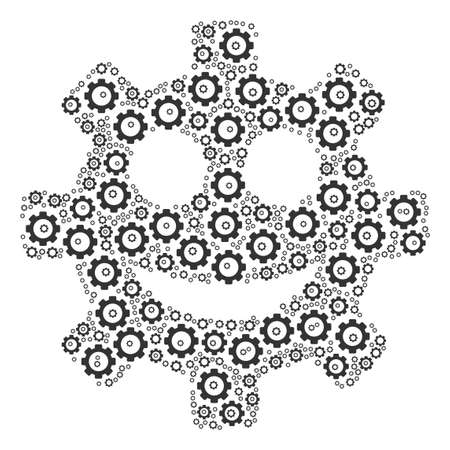 Gear Smile Smiley composition of mechanical wheels. Raster gear parts are organized into gear smile smiley mosaic.