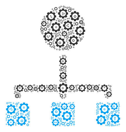 Hierarchy collage of raster gears. Raster gear wheel objects are united into hierarchy shape.