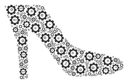 Lady Shoe composition of gears. Raster cog symbols are organized into lady shoe mosaic.