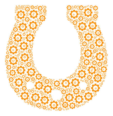 Horseshoe collage of gears. Raster cog symbols are combined into horseshoe illustration. Stock Photo