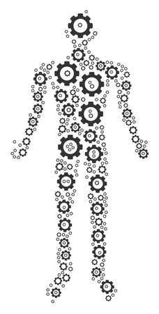 Human mosaic of cog wheels. Raster gear objects are organized into human mosaic. Archivio Fotografico - 97502745