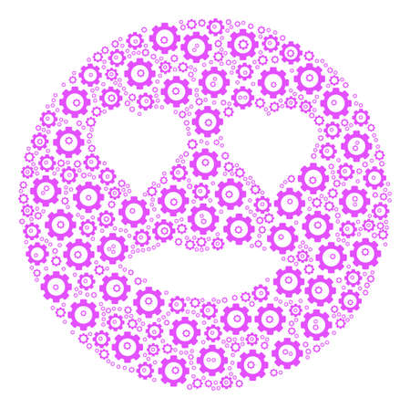 Lady Love Smiley composition of cogs. Raster cogwheel pictograms are composed into lady love smiley illustration. Stock Photo