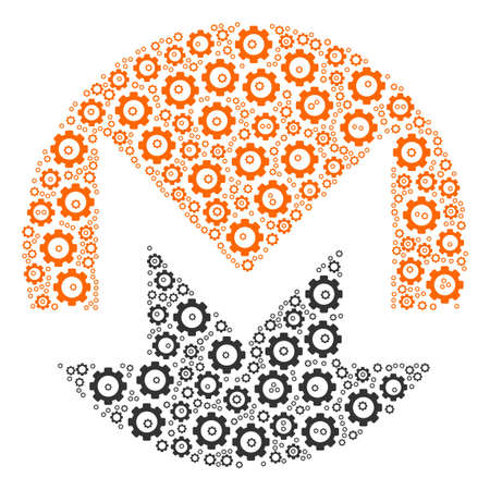 Monero Currency mosaic of tooth gears. Raster cog wheel parts are combined into monero currency composition.
