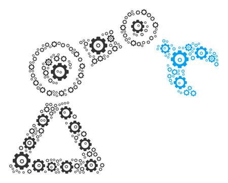 Robotics Manipulator mosaic of mechanical wheels. Raster cogwheel items are grouped into robotics manipulator illustration. Stock Photo