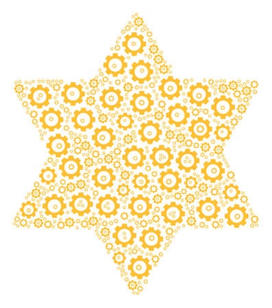 Six Pointed Star mosaic of raster gears. Raster gear objects are composed into six pointed star figure.