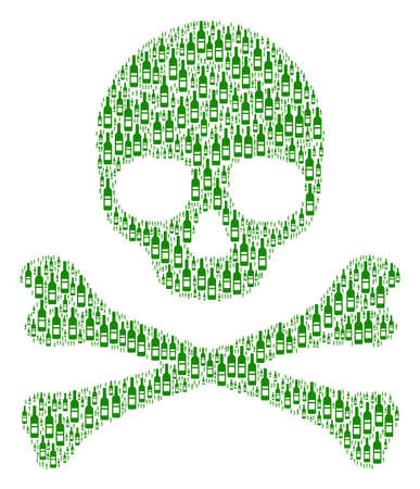 Skull pattern organized of wine bottle pictograms. Vector wine bottle elements are united into mosaic fear illustration. Çizim