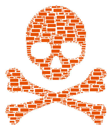 Skull composition created of building brick pictograms. Raster building brick icons are united into mosaic risk collage.