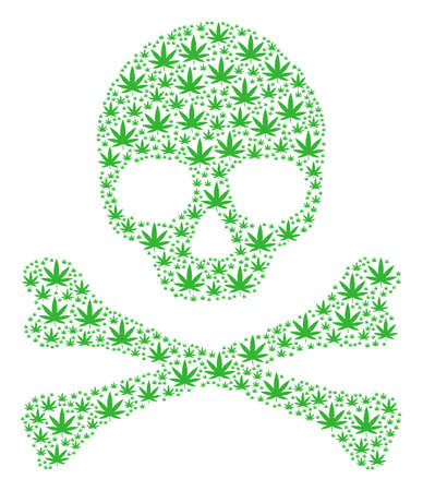 Skull concept composed of cannabis elements. Vector cannabis pictograms are organized into geometric danger collage.