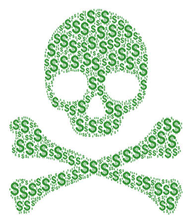 Death concept composed of dollar pictograms. Vector dollar elements are composed into geometric deadly composition.