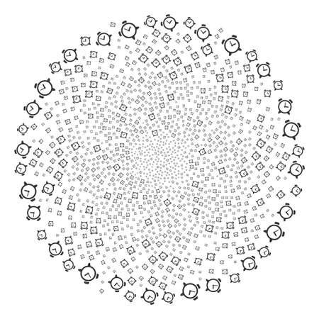 Circular whirlpool design of alarm clock symbols. Çizim